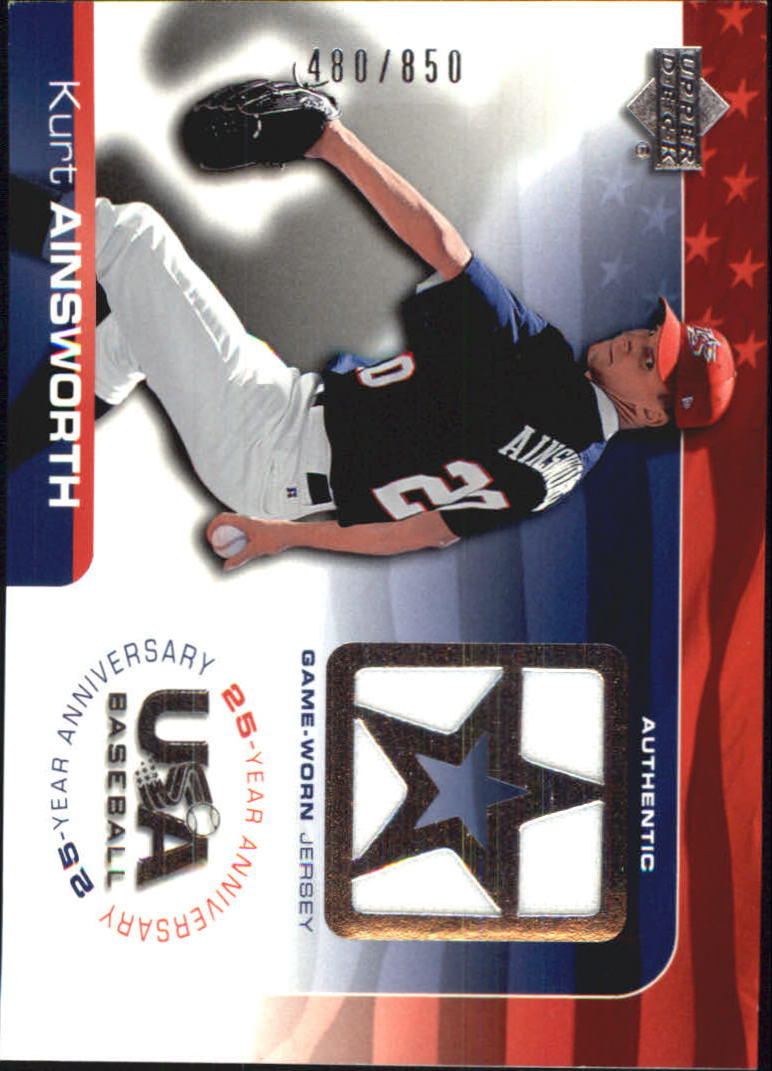 2004 USA Baseball 25th Anniversary Game Jersey #KA Kurt Ainsworth/850