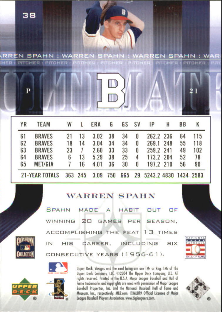 2004 Ultimate Collection #38 Warren Spahn back image