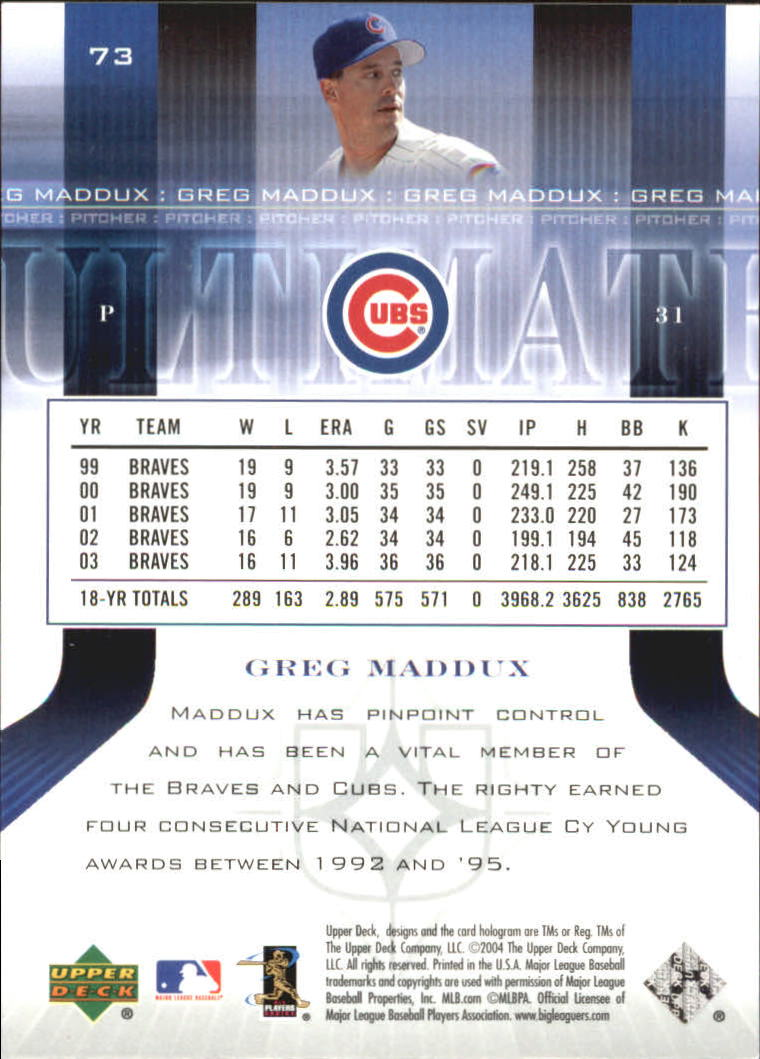 2004 Ultimate Collection #73 Greg Maddux back image