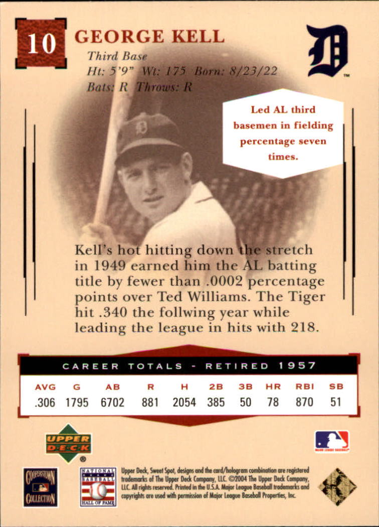 2004 Sweet Spot Classic #10 George Kell back image