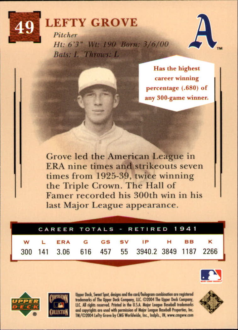 2004 Sweet Spot Classic #49 Lefty Grove back image