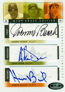 2004 Hot Prospects Draft Past Present Future Autograph #BDB Johnny Bench/Adam Dunn/Homer Bailey