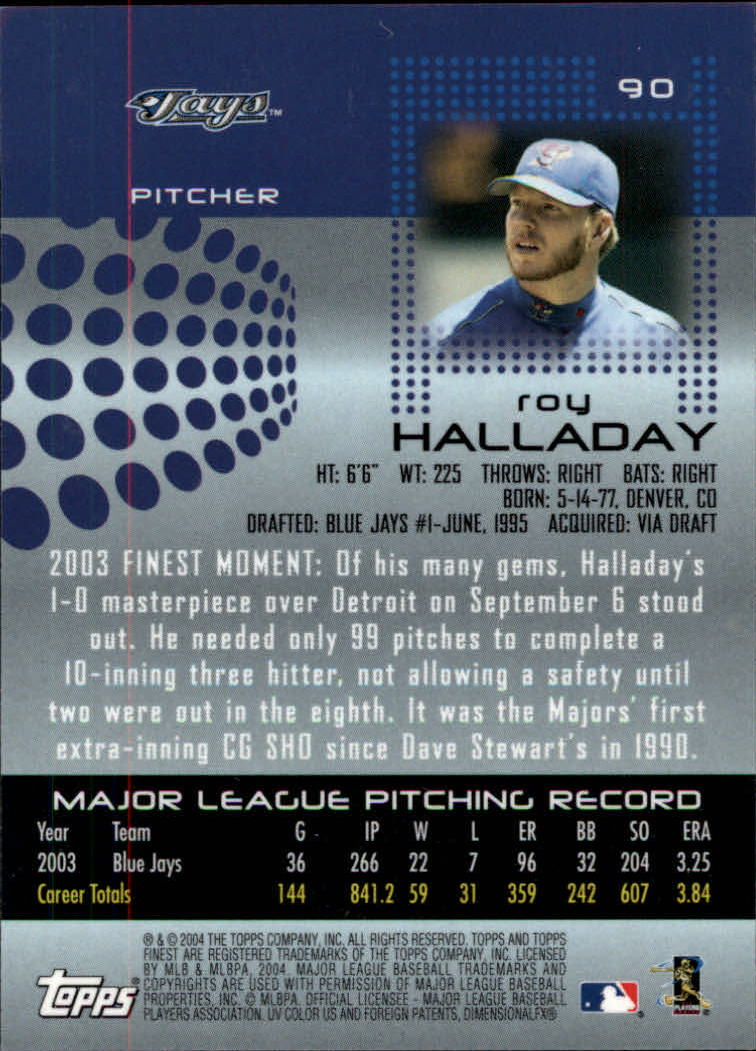 2004 Finest #90 Roy Halladay back image