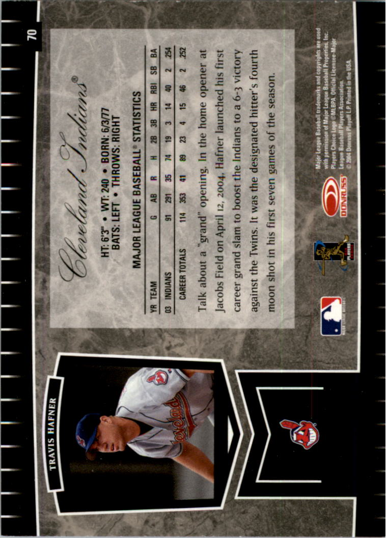 2004 Leaf Certified Cuts #70 Travis Hafner back image