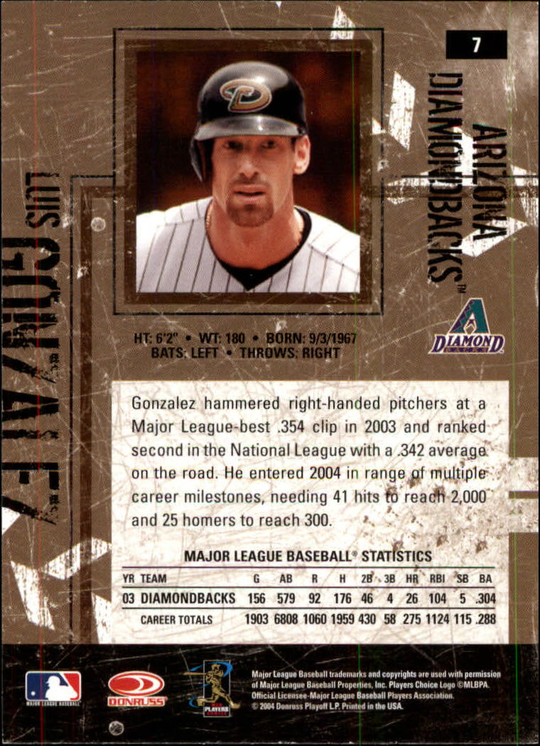 2004 Leather and Lumber #7 Luis Gonzalez back image