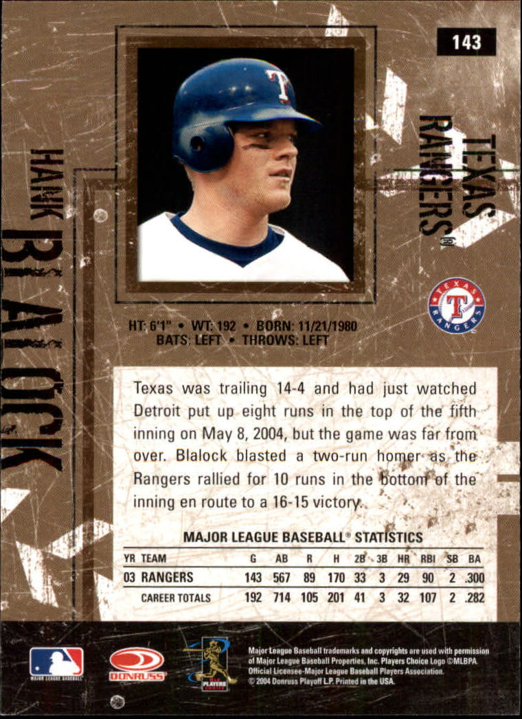 2004 Leather and Lumber #143 Hank Blalock