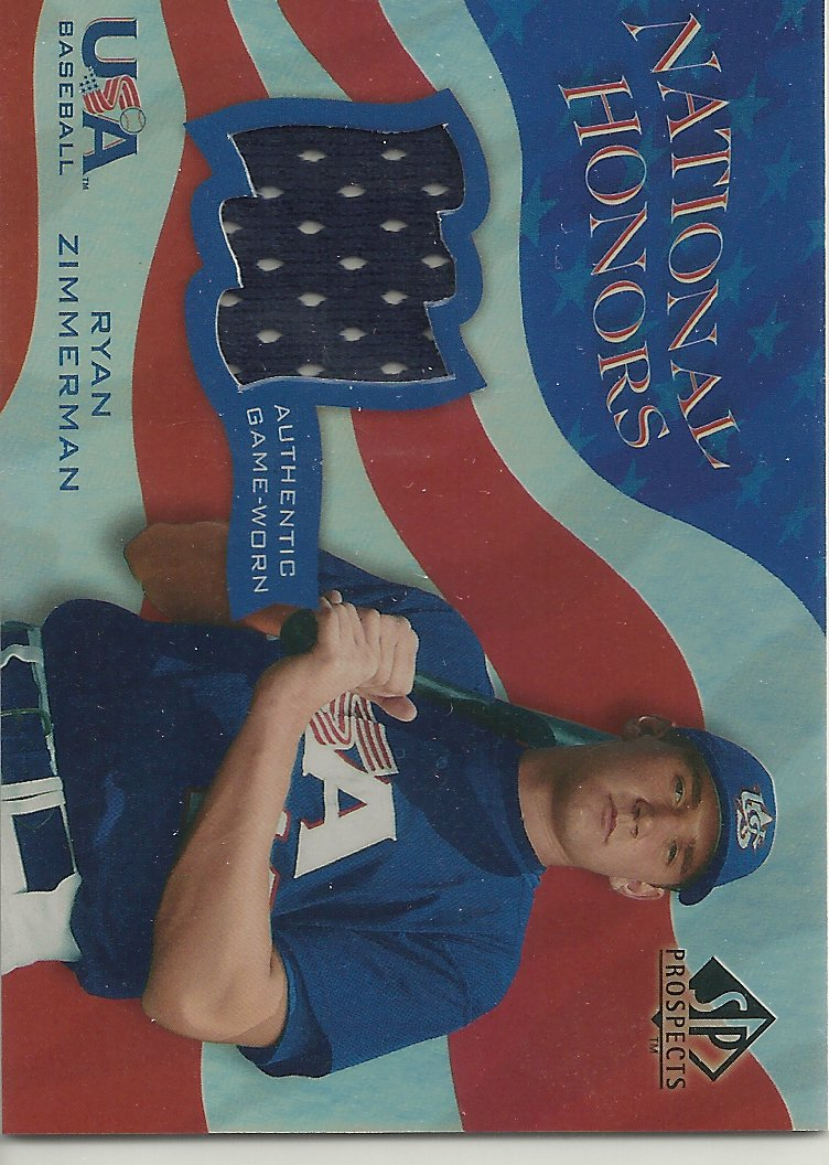 2004 SP Prospects National Honors USA Jersey #RZ Ryan Zimmerman