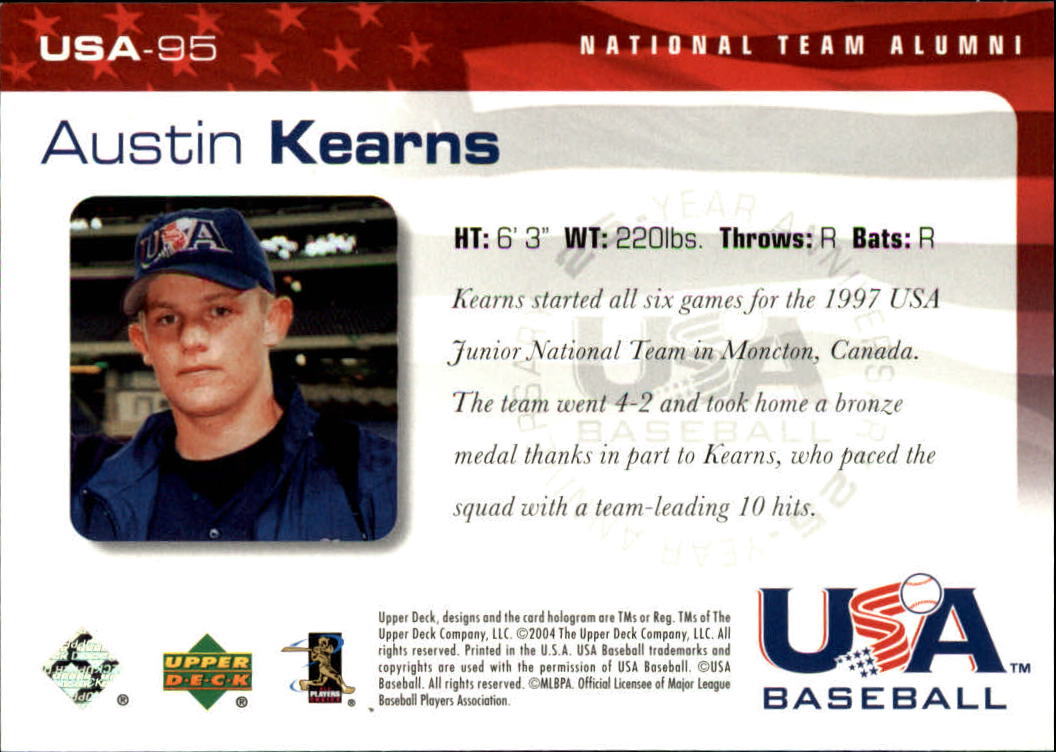 2004 USA Baseball 25th Anniversary #95 Austin Kearns back image