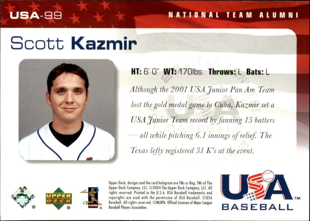 2004 USA Baseball 25th Anniversary #99 Scott Kazmir back image