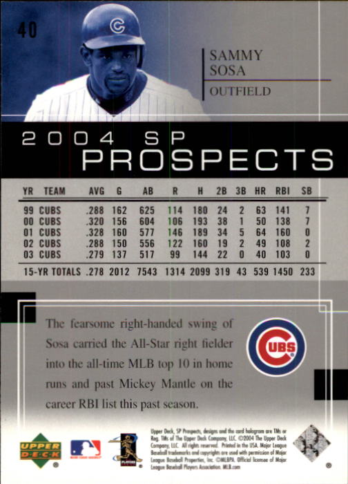 2004 SP Prospects #40 Sammy Sosa back image