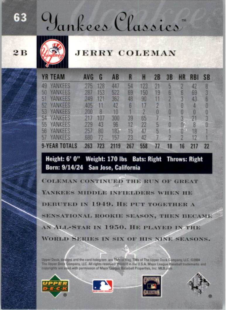 2004 UD Yankees Classics #63 Jerry Coleman back image