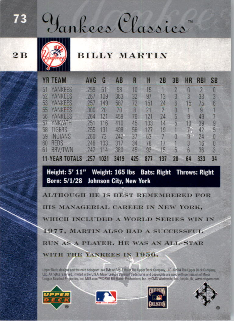 2004 UD Yankees Classics #73 Billy Martin back image