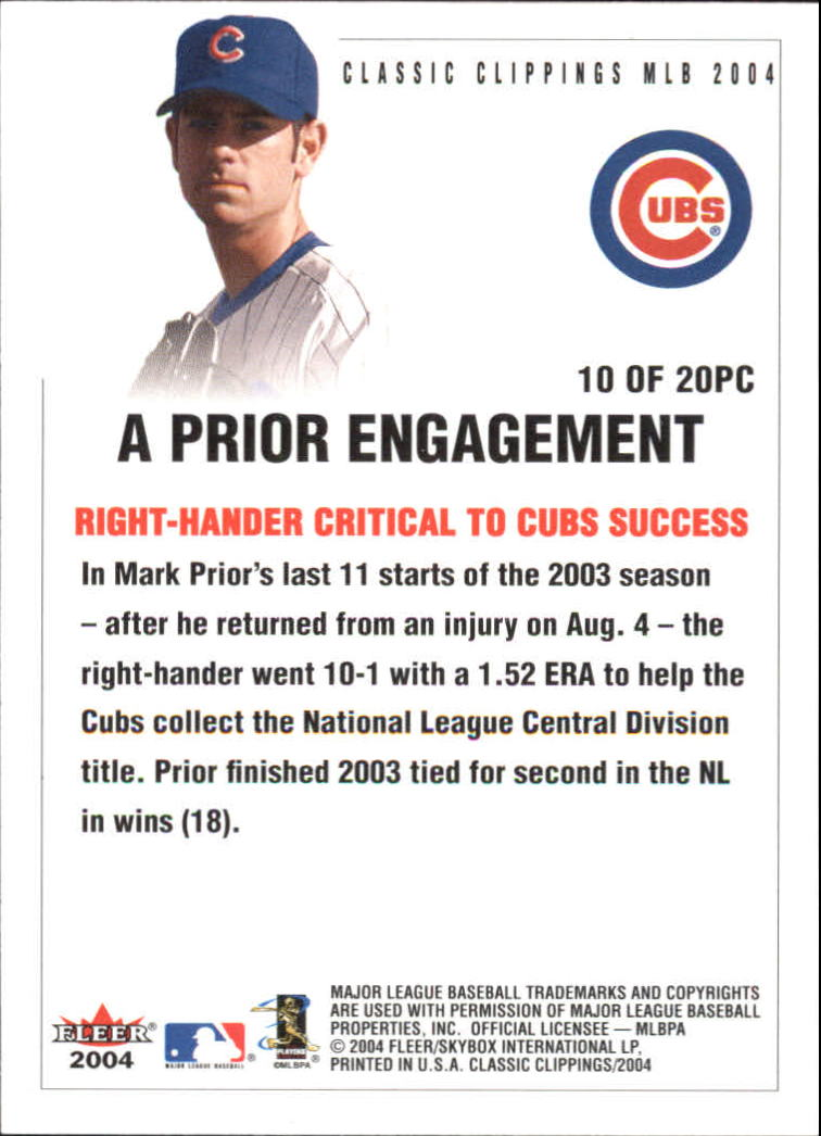 2004 Classic Clippings Press Clippings #10 Mark Prior back image