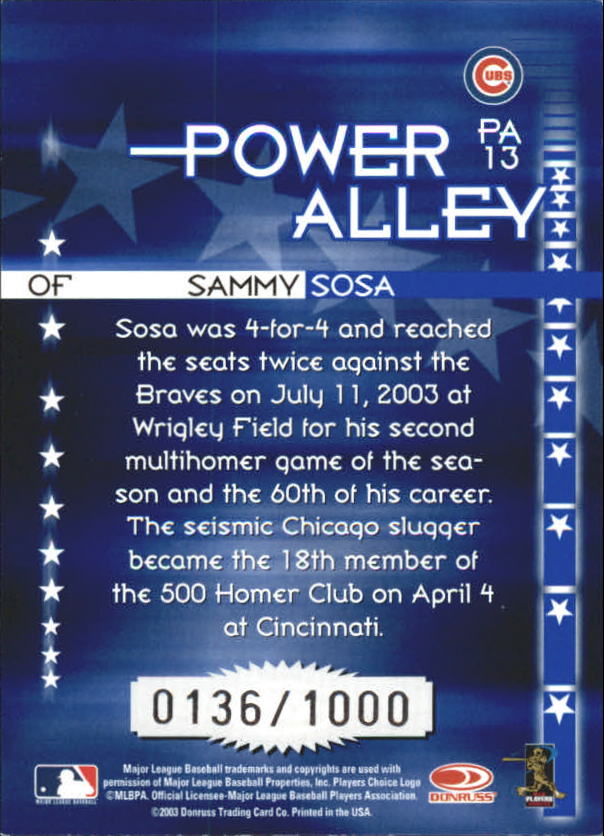 2004 Donruss Power Alley Blue #13 Sammy Sosa back image