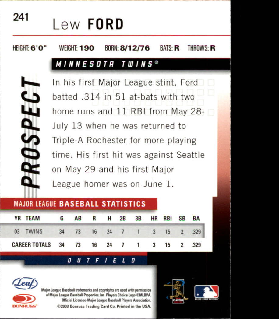 2004 Leaf #241 Lew Ford PROS back image