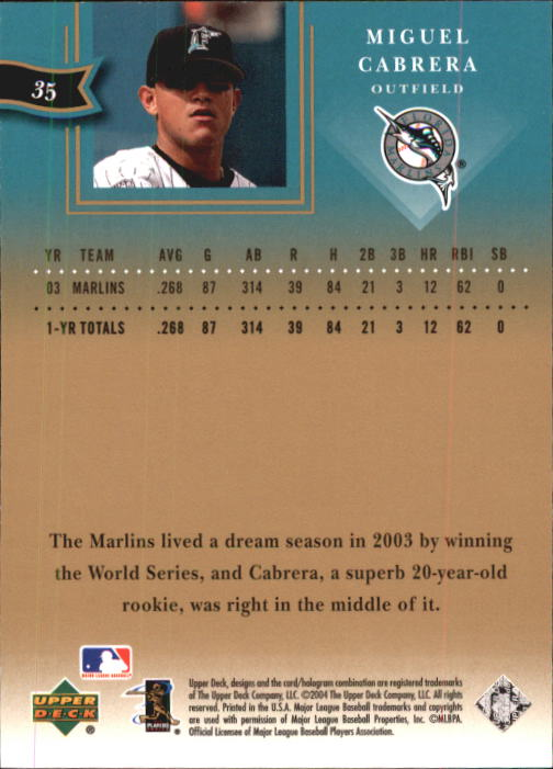 2004 UD Diamond All-Star #35 Miguel Cabrera back image