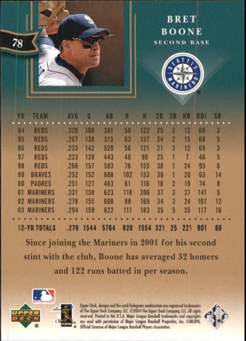 2004 UD Diamond All-Star #78 Bret Boone back image