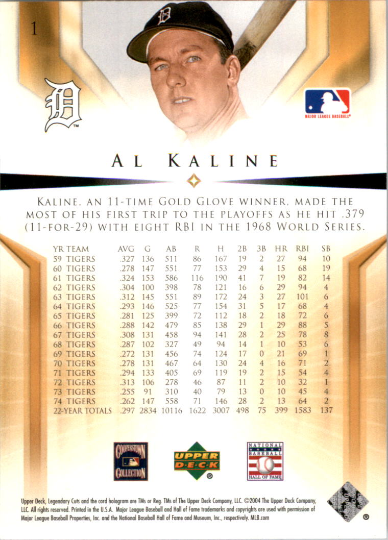 2004 SP Legendary Cuts #1 Al Kaline back image