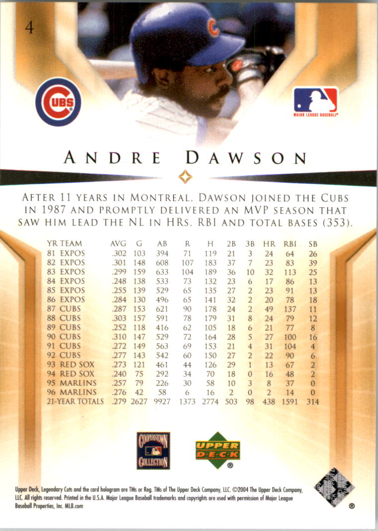 2004 SP Legendary Cuts #4 Andre Dawson back image