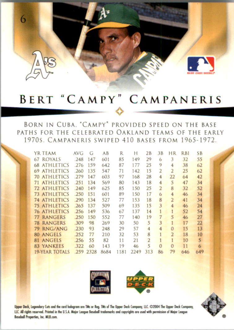 2004 SP Legendary Cuts #6 Bert Campaneris