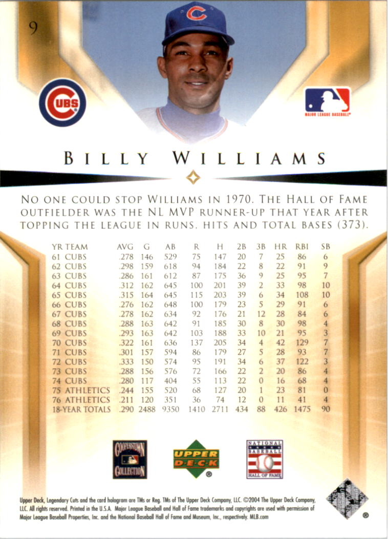 2004 SP Legendary Cuts #9 Billy Williams