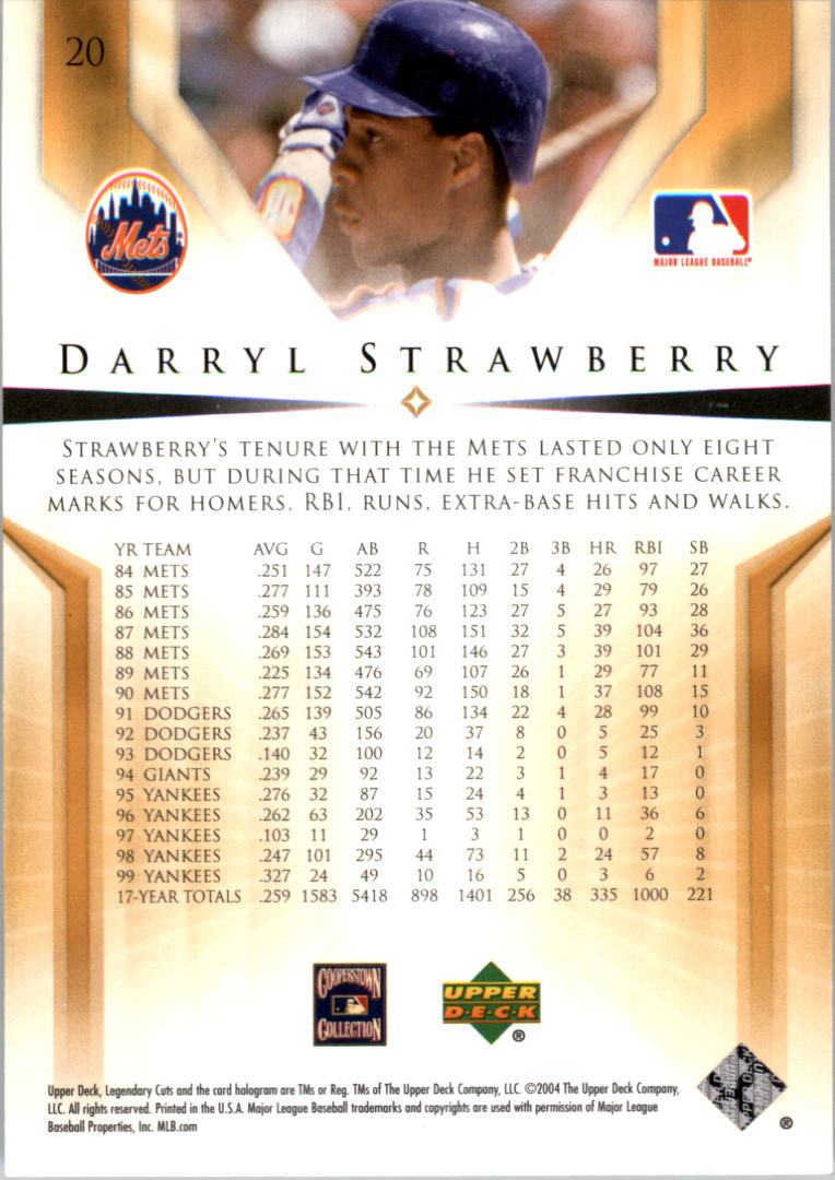 2004 SP Legendary Cuts #20 Darryl Strawberry back image