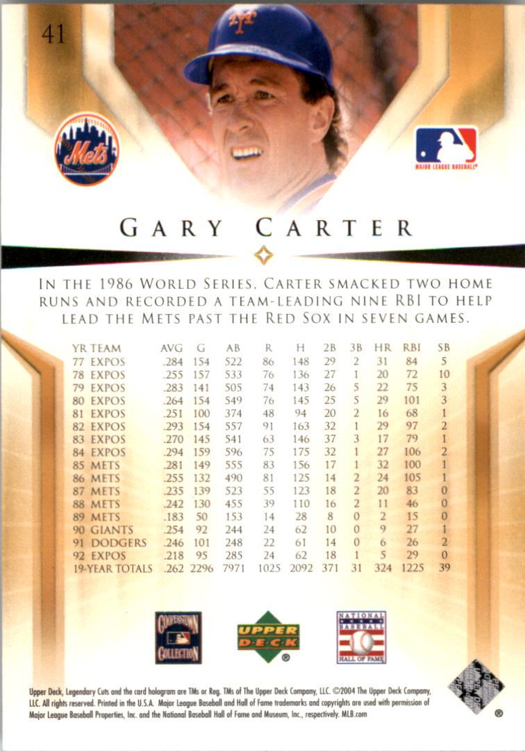 2004 SP Legendary Cuts #41 Gary Carter back image