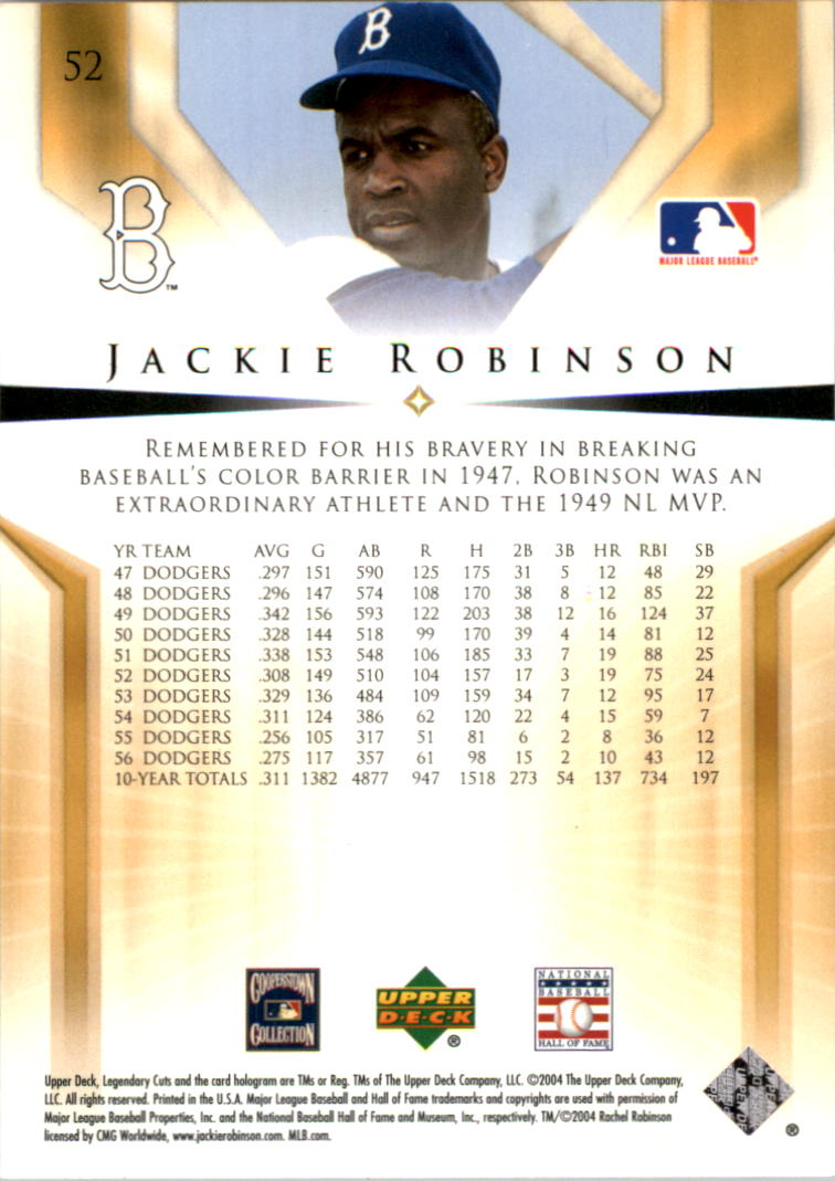 2004 SP Legendary Cuts #52 Jackie Robinson back image