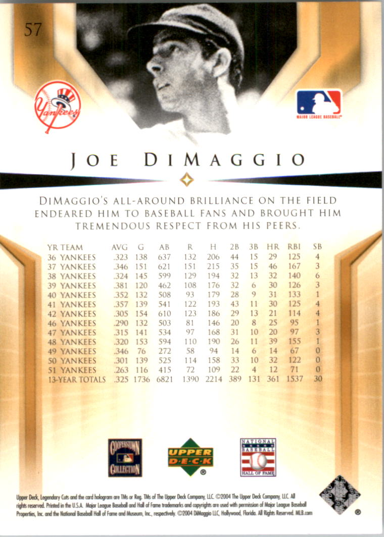 2004 SP Legendary Cuts #57 Joe DiMaggio back image