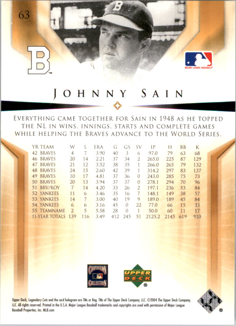 2004 SP Legendary Cuts #63 Johnny Sain back image