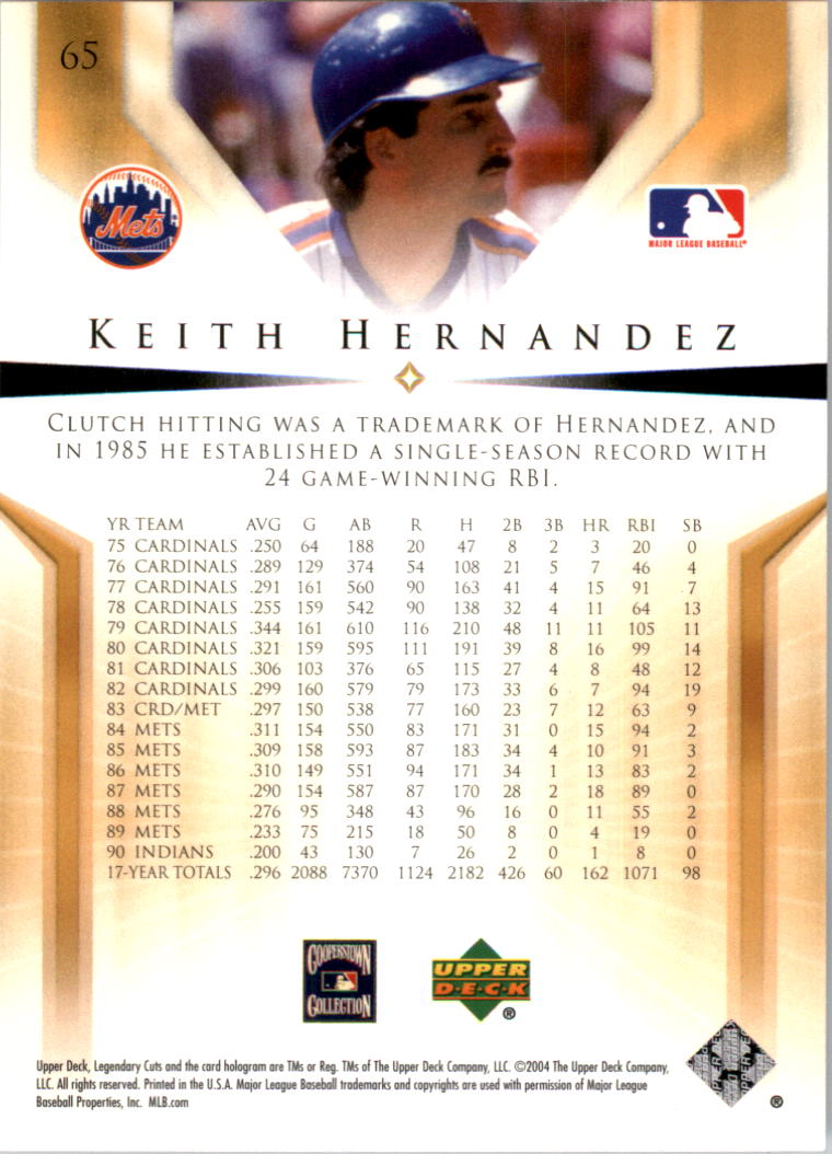 2004 SP Legendary Cuts #65 Keith Hernandez back image