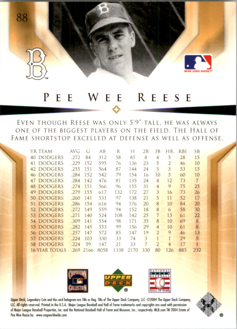 2004 SP Legendary Cuts #88 Pee Wee Reese back image