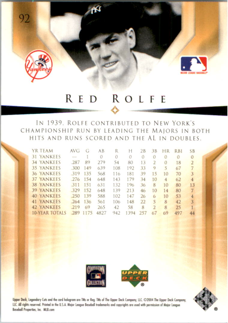 2004 SP Legendary Cuts #92 Red Rolfe back image