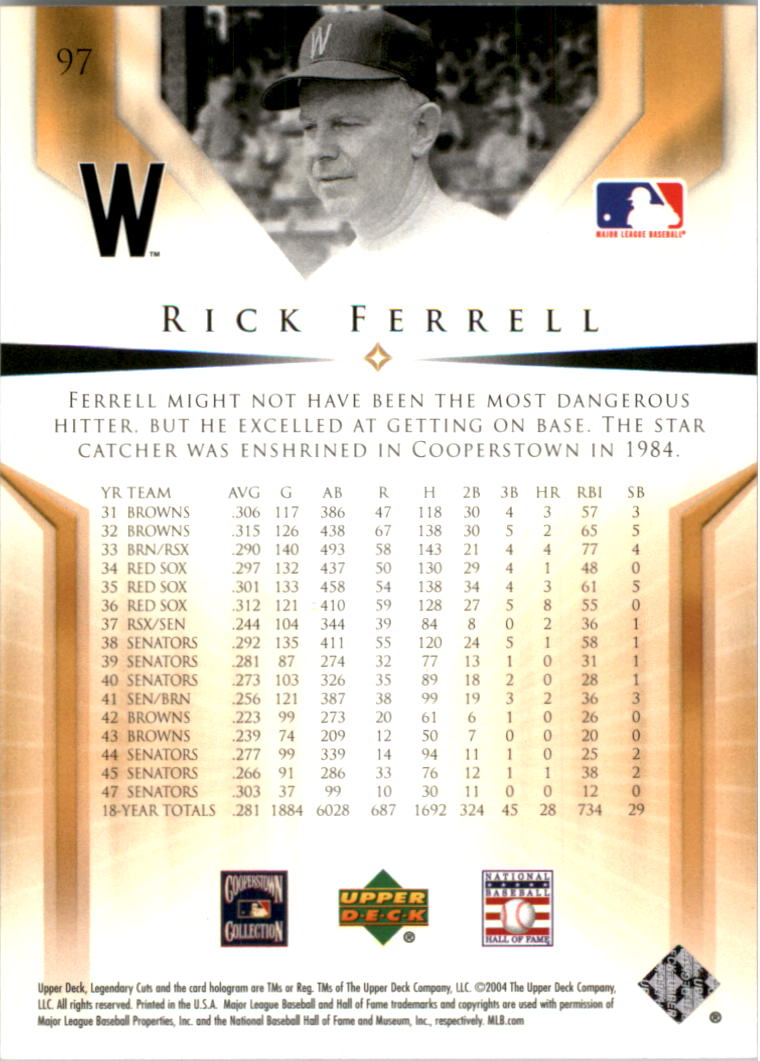 2004 SP Legendary Cuts #97 Rick Ferrell back image