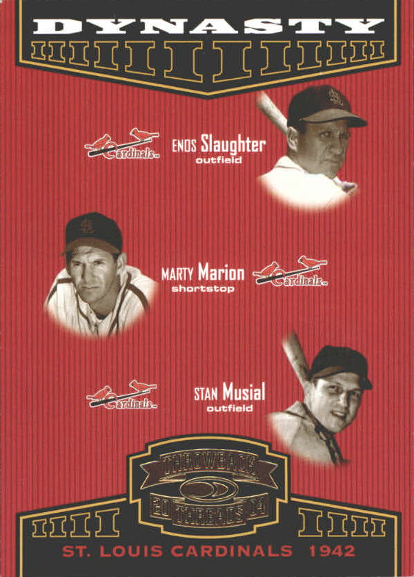 2004 Throwback Threads Dynasty #5 Slaughter/Marion/Musial