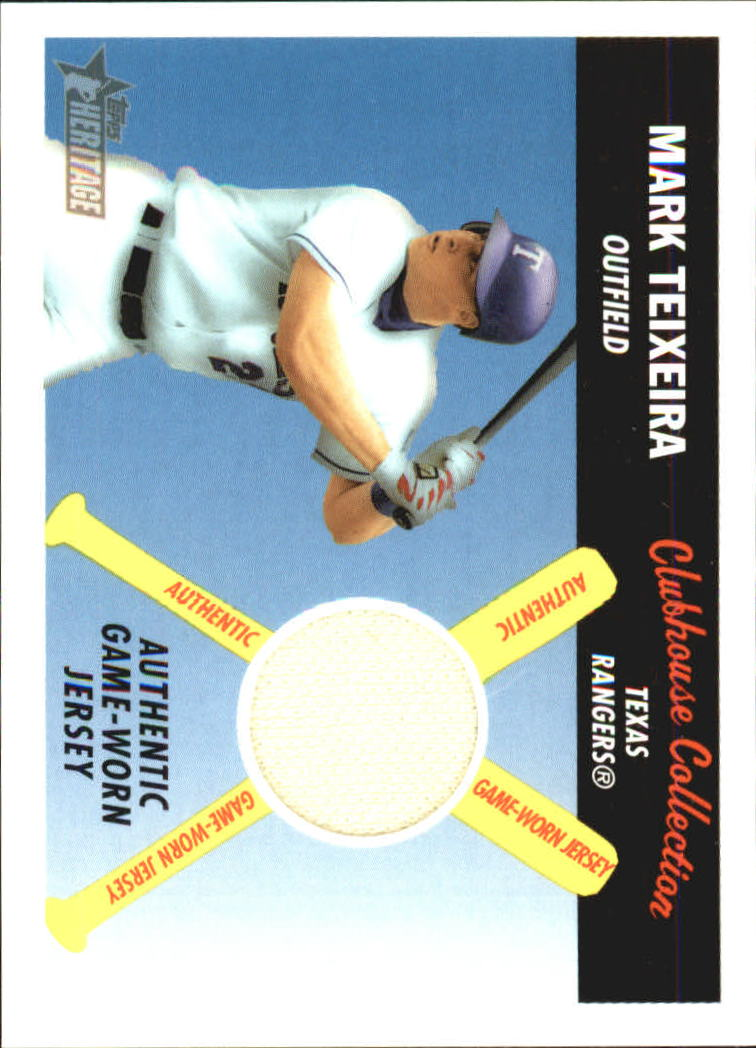 2004 Topps Heritage Clubhouse Collection Relics #MTE Mark Teixeira Jsy D