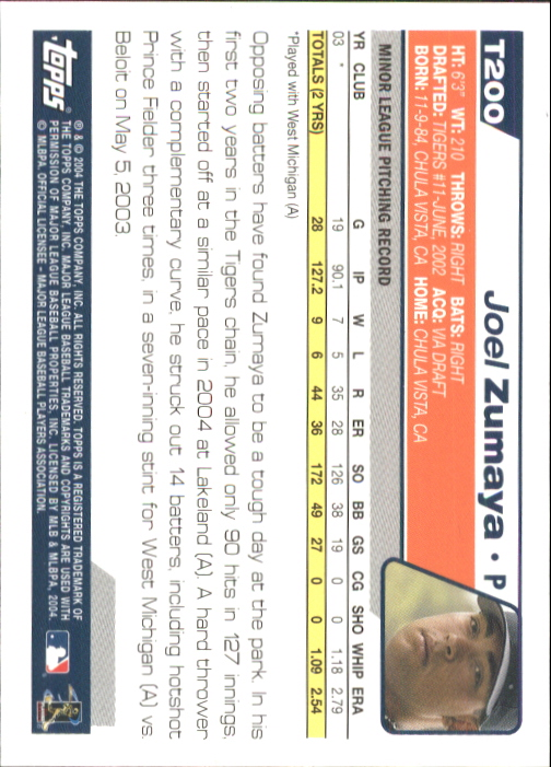 2004 Topps Traded #T200 Joel Zumaya FY RC back image