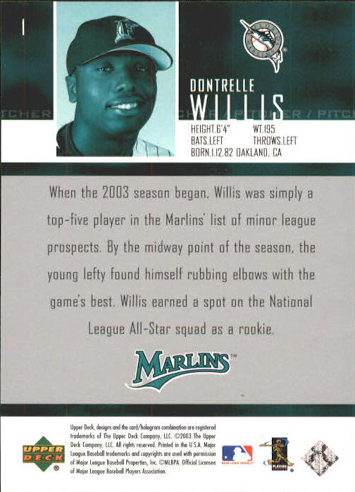 2004 Upper Deck #1 Dontrelle Willis SR back image