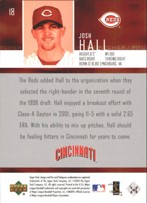 2004 Upper Deck #18 Josh Hall SR back image