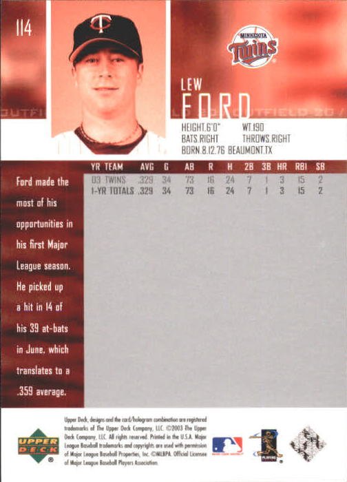 2004 Upper Deck #114 Lew Ford back image