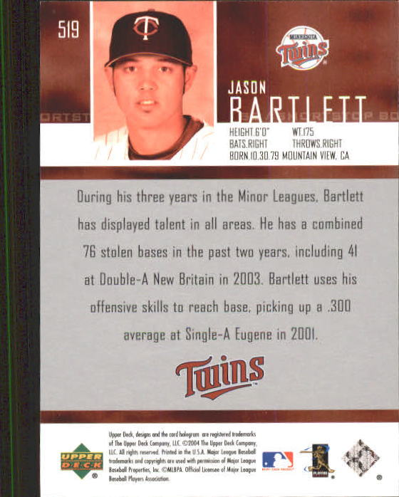 2004 Upper Deck #519 Jason Bartlett SR RC back image