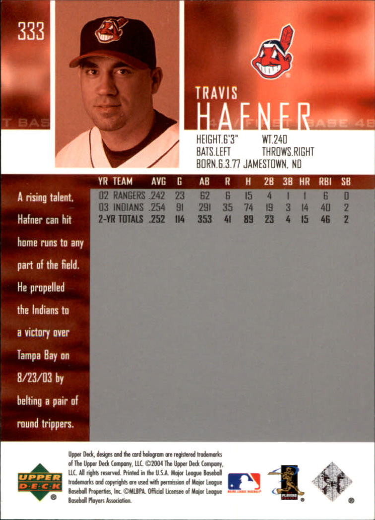 2004 Upper Deck Glossy #333 Travis Hafner back image