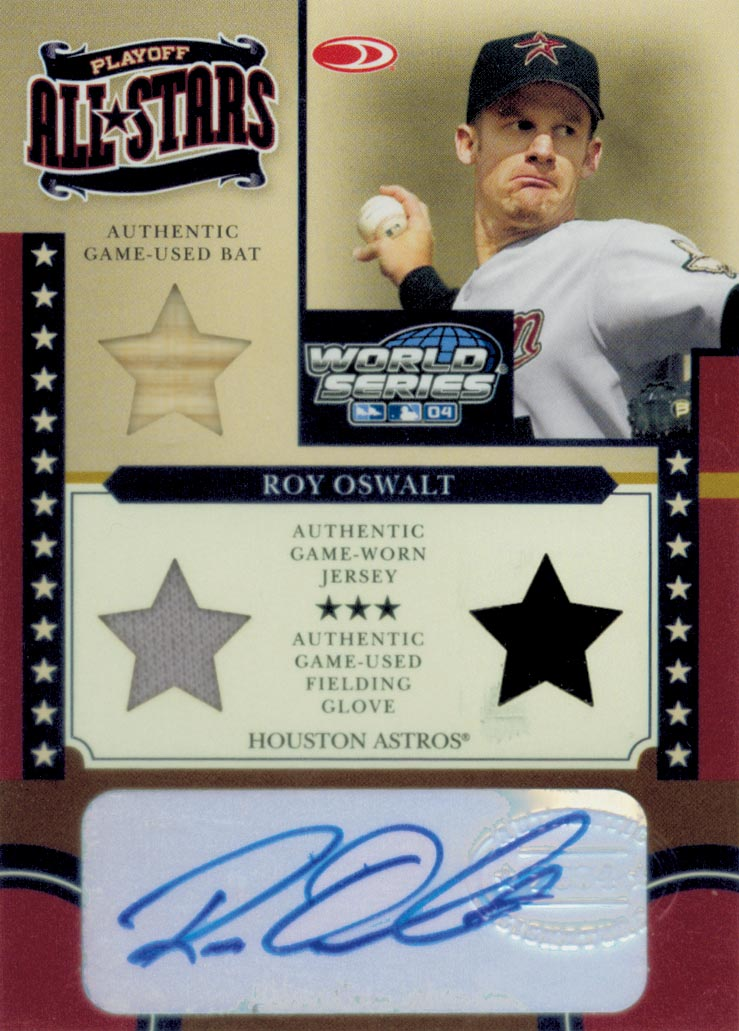 2004 Donruss World Series Playoff All-Stars Signature Material 2 #7 Roy Oswalt Bat-Jsy/100