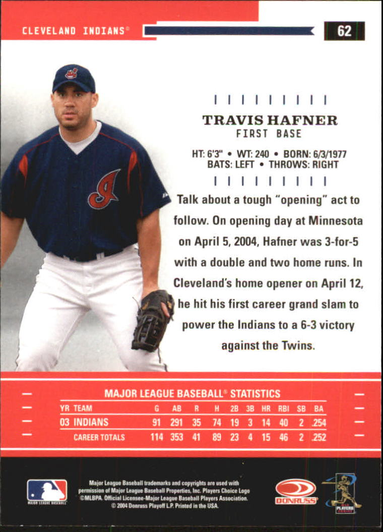 2004 Throwback Threads #62 Travis Hafner back image