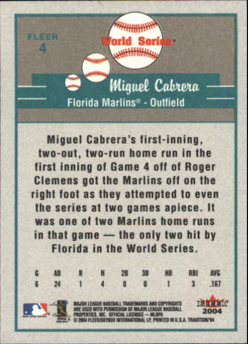2004 Fleer Tradition #4 Miguel Cabrera WS back image