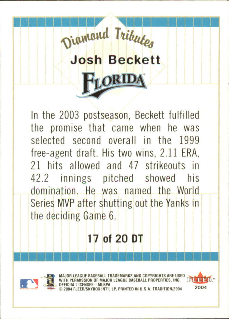 2004 Fleer Tradition Diamond Tributes #17 Josh Beckett back image
