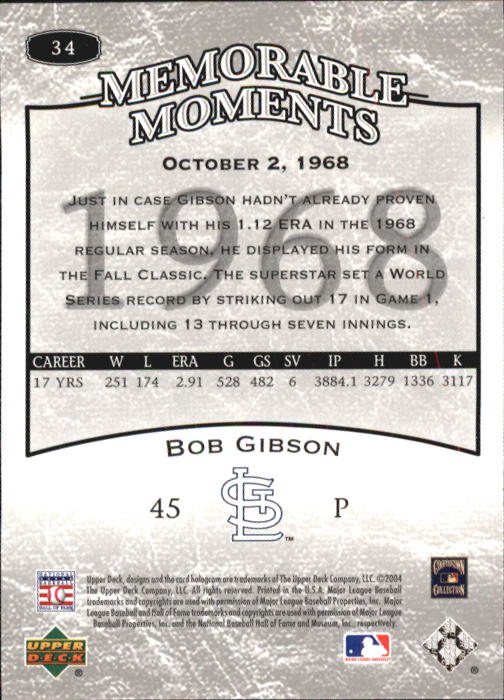 2004 UD Legends Timeless Teams #34 Bob Gibson MM 68 back image