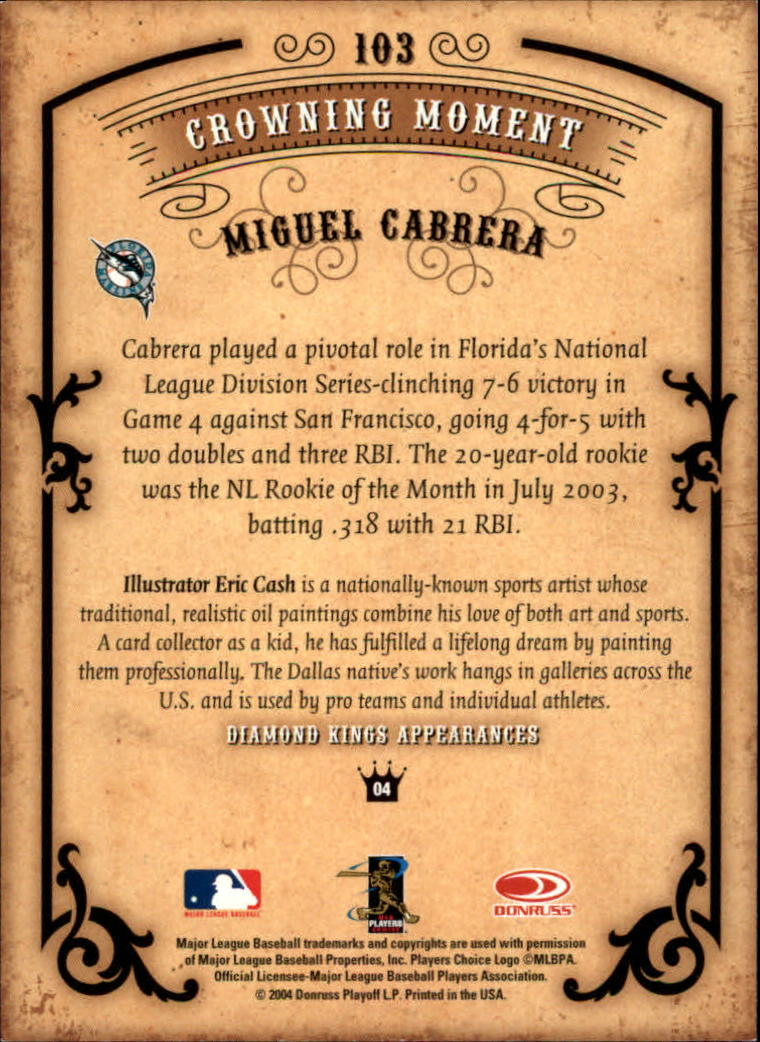 2004 Diamond Kings #103 Miguel Cabrera back image