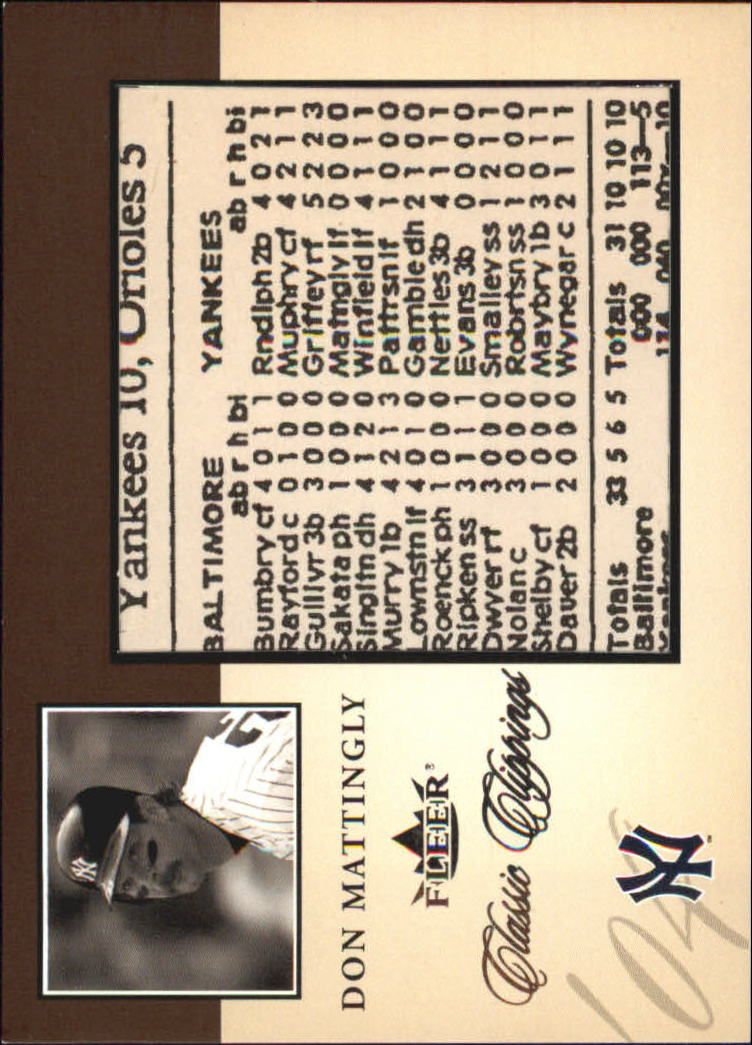 2004 Classic Clippings Inserts #4 Don Mattingly
