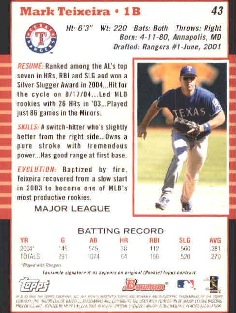 2005 Bowman #43 Mark Teixeira back image